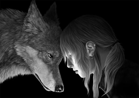A menina e o lobo solitário